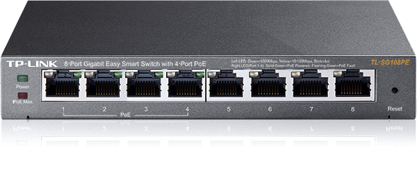 TP-LINK 8-Port Gigabit Desktop PoE Easy Smart Switch, 8 Gigabit RJ45 Ports inkl. 4 PoE Ports, 55W PoE Gesamtleistung
