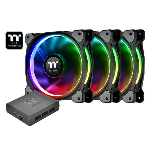 THERMALTAKE Riing Plus 14LED RGB 3er Set high performance casefan 3 pieces 14x14x2,5cm Software Noise 27.2 dBA with LNC