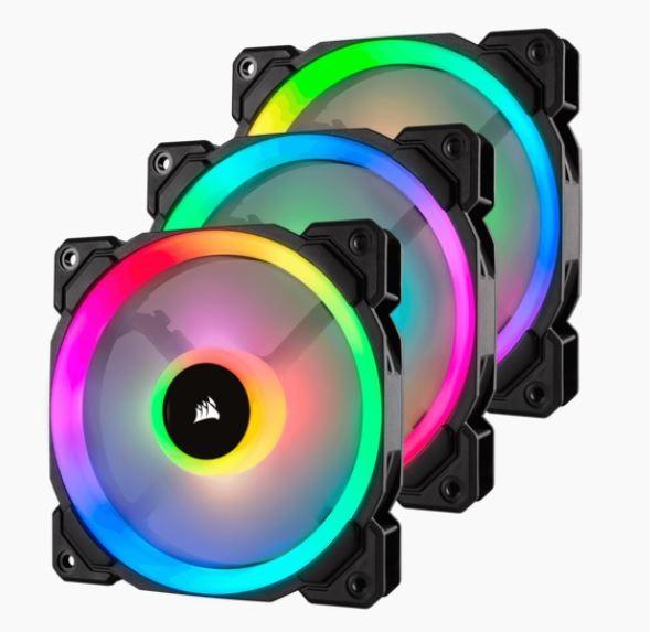 CORSAIR Fan LL120 RGB 120mm Dual Light Loop RGB LED PWM Fan 3 pack with Lighting Node Pro