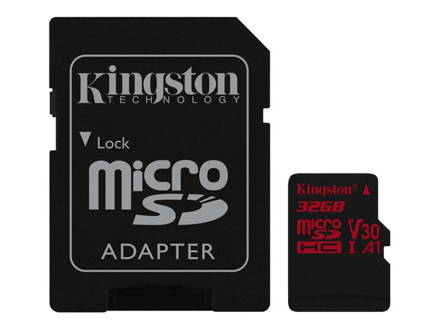KINGSTON 32GB microSDHC Canvas React 100R 70W U3 USH-I V30 A1 Card with SD adapter