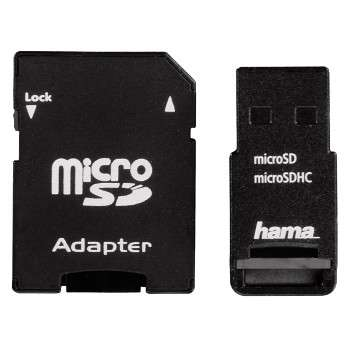 HAMA USB 2.0 microSD microSDHC USB Adapter Set black